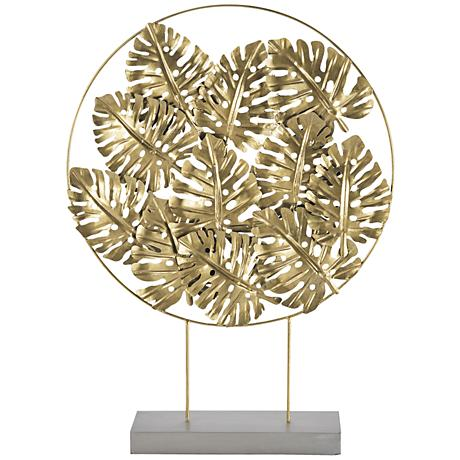 "Quintus 31"" High Gold Iron Foliage Sculpture"