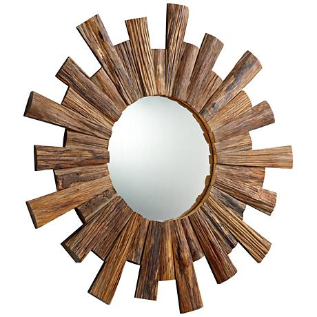 "Wheelhouse Reflection Pecan Sunburst 36"" Round Wall Mirror"