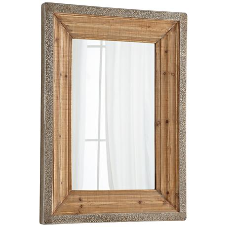 "Vintage Reflection Natural 35 3/4"" x 48"" Wall Mirror"