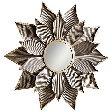 "Cyan Design Blossom Graphite 50 1/4"" Round Wall Mirror"