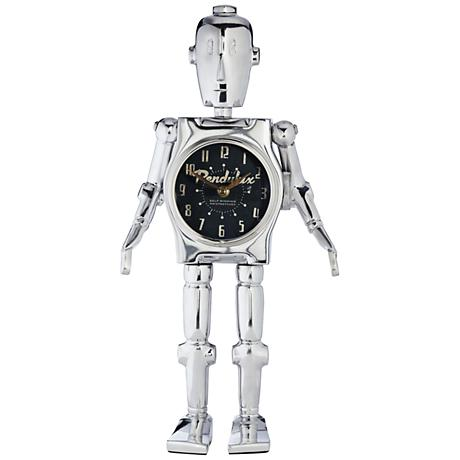 "Robot 17 1/2""H Polished Aluminum Space Age Table Clock"