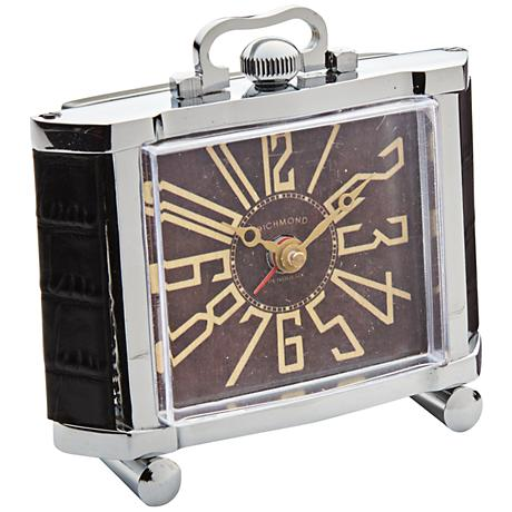 "Richmond 4 1/2"" High Nickel Plate Art Deco Alarm Clock"