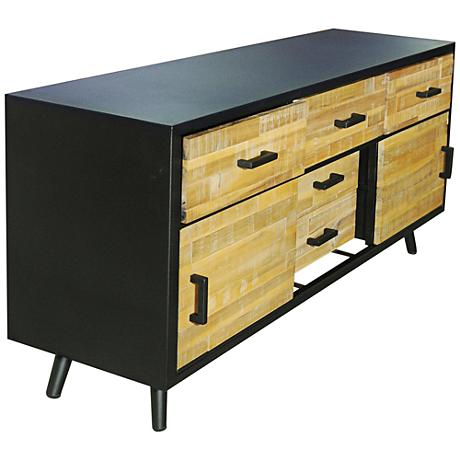 Madison Raw Black 5-Drawer Natural Wood Buffet Cabinet