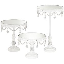 White Beaded Mirror-Top Round Cake Stands Set of 3