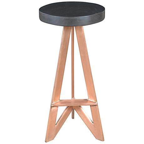 "Ember 30"" Heavy Black Wood and Copper Barstool"