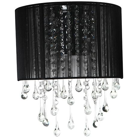 "Avenue Beverly Dr. 14"" High Black Silk String Wall Sconce"