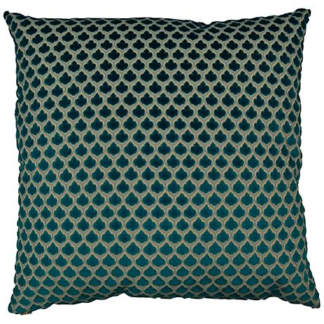 "Posh Turquoise 24"" Square Decorative Throw Pillow"