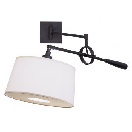 Real Simple Matte Black Wall Boom Plug-In Swing Arm