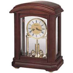 "Nordale Walnut Finish 11"" High Bulova Mantel Clock"