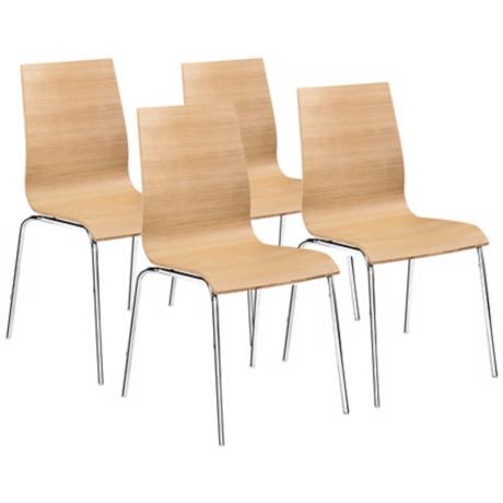 Set of Four Natural Organic Form Dining Chairs