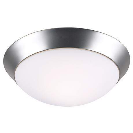 "Brushed Steel 15"" Wide Flushmount Ceiling Light Fixture"