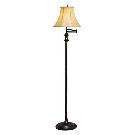 Bronze Finish Champagne Fabric Swing Arm Floor Lamp
