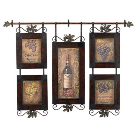 "Uttermost Wine and Grapes 53"" Wide Hanging Collage"