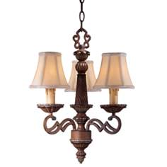 Belcaro Walnut Finish 3-Light Mini Chandelier