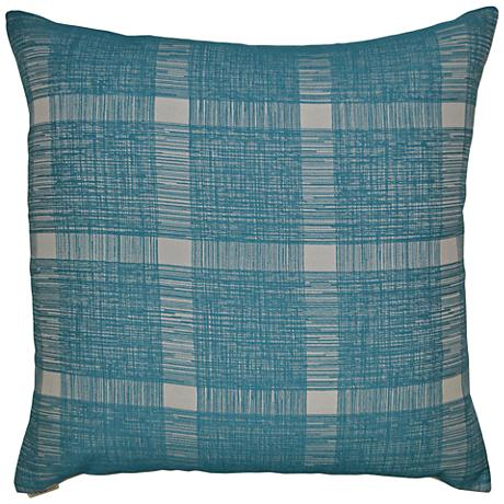 "Checkmate Turquoise 24"" Square Decorative Throw Pillow"
