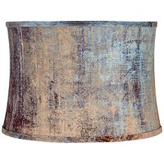 Velvet Blue Embossed Drum Lamp Shade 15x16x11 (Spider)