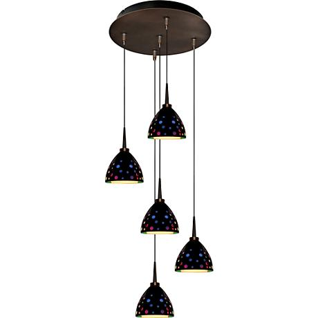 "Rainbow 4 1/2"" Wide Black Retro Glass LED Mini Pendant"