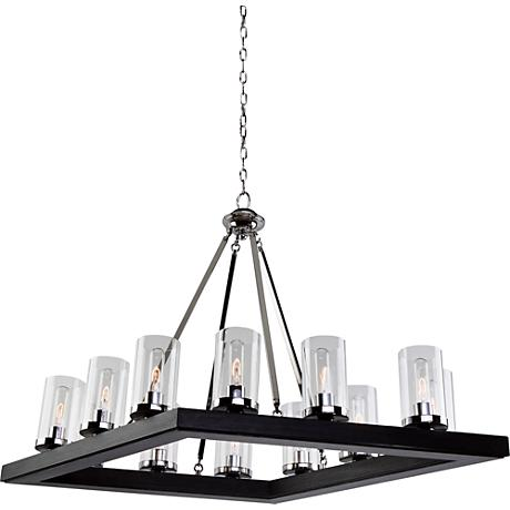 "Canyon Creek 25""W Dark Pine Wood 12-Light Chandelier"