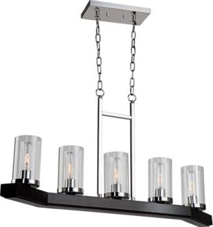 "Canyon Creek 36""W Dark Pine Wood 5-Light Island Pendant (12H34) 12H34"