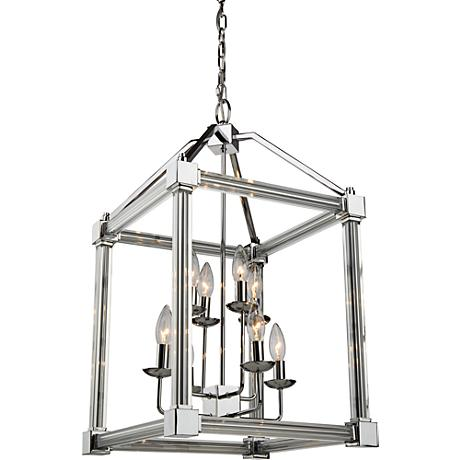 "Artcraft Prince Arthur 15""W Chrome Box 8-Light Chandelier"