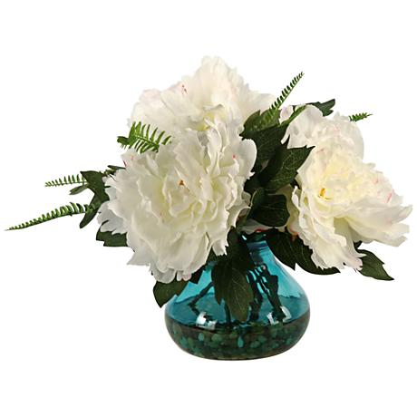 "Cream and Pink Peonies 14""W Faux Flowers in Garden Vase"