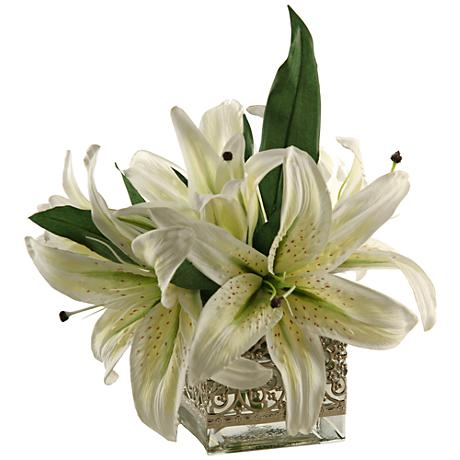 "White Lilies 12""W Faux Flowers in Glass Cube"