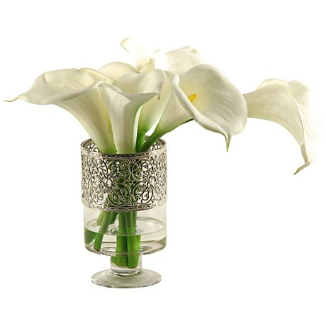 "White Calla Lilies 18""W Faux Flowers in Glass Vase"