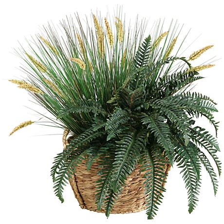 "Onion Grass, Dogstail, and Fern 30""W Faux Plant in Basket"