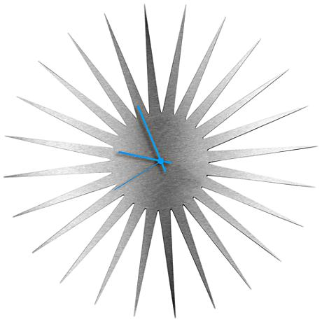 "MCM Silver with Blue 23"" Round Starburst Wall Clock"