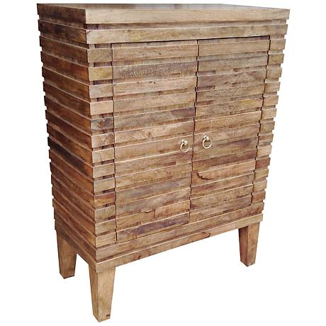 Yosemite Home Decor Natural Wood 2-Door Accent Chest