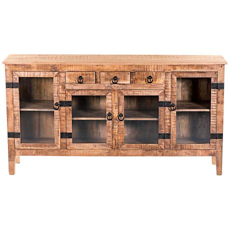 Yosemite Home Decor Milled Wood 4-Door Display Console