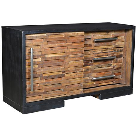 Yosemite Home Decor Woodgrain Puzzle 3-Drawer Sideboard