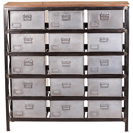 Yosemite Home Decor Natural Metal 15-Drawer Cabinet