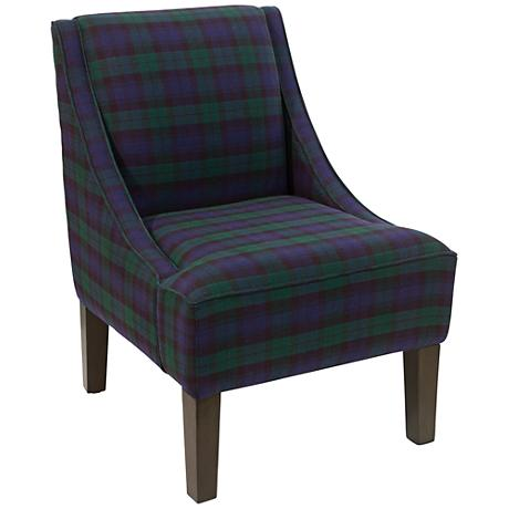 Uptown Blackwatch Fabric Swoop Armchair