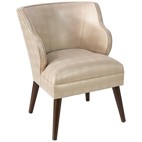 T-bird Polished Gold Fabric Armchair