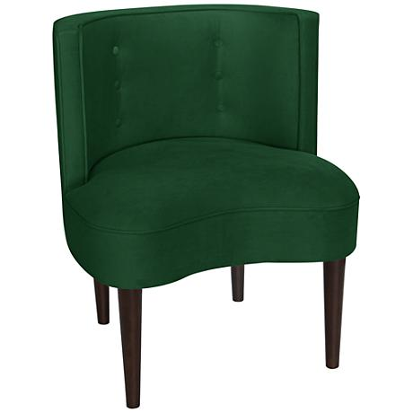 Curve Ball Fauxmo Emerald Green Fabric Armless Accent Chair