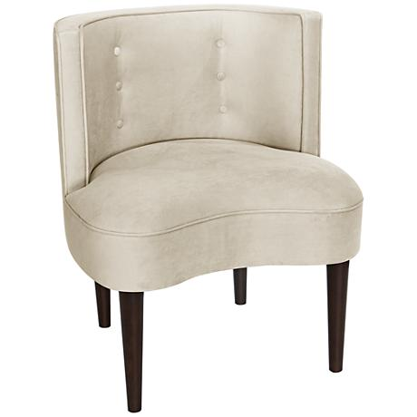 Curve Ball Regal Antique White Fabric Armless Accent Chair