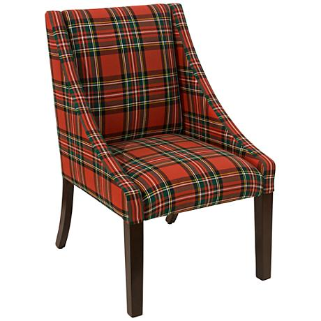 Villager Ancient Stewart Red Fabric Swoop Dining Chair
