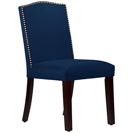 Calistoga Velvet Navy Fabric Arched Dining Chair