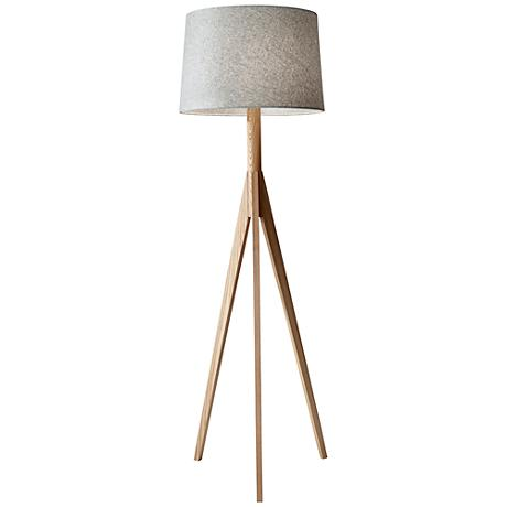 Eden Natural Ash Wood Tripod Floor Lamp
