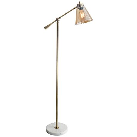 Sienna Antique Brass Adjustable Floor Lamp