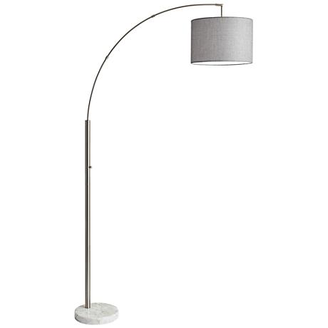 bowery brushed steel adjustable arc floor lamp 12w13 www. Black Bedroom Furniture Sets. Home Design Ideas