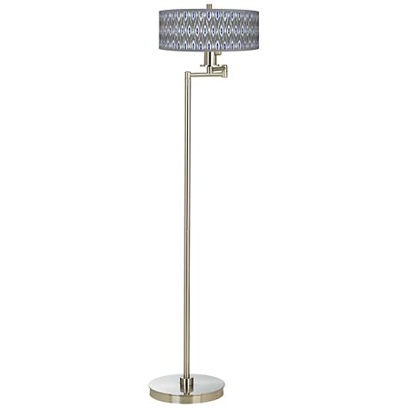 American Ikat Giclee Energy Efficient Swing Arm Floor Lamp