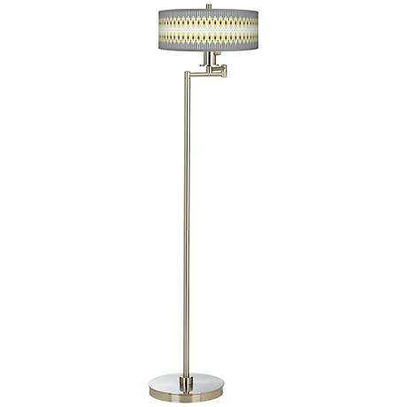 Desert Geometric Giclee Energy Efficient Swing Arm Floor Lamp