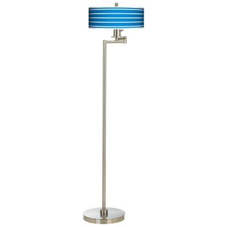 Bold Blue Stripe Energy Efficient Swing Arm Floor Lamp