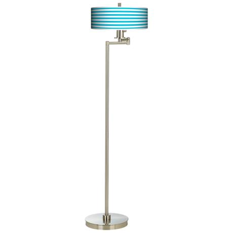 Aqua Horizontal Stripe Energy Efficient Swing Arm Floor Lamp