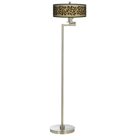 Brown Splash On Tan Energy Efficient Swing Arm Floor Lamp
