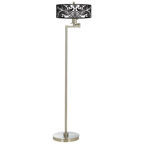 Black Tapestry Energy Efficient Swing Arm Floor Lamp
