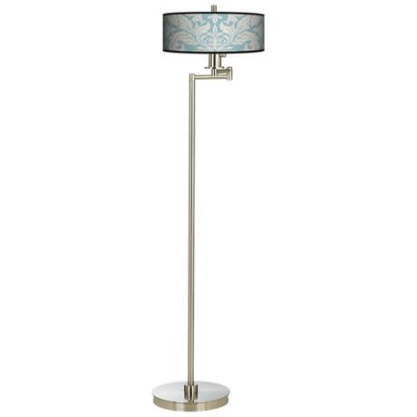 Ivory Blue Tapestry Energy Efficient Swing Arm Floor Lamp