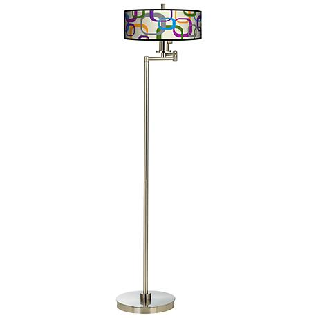 Retro Squares Scramble Energy Efficient Swing Arm Floor Lamp